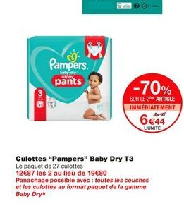 """Culottes """"Pampers"""" Baby Dry T3  offre à 9,9€"""
