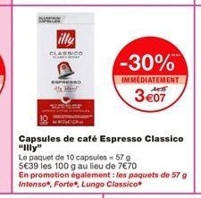 """Capsules de café Espresso Classico """"Illy""""  offre à 3,07€"""