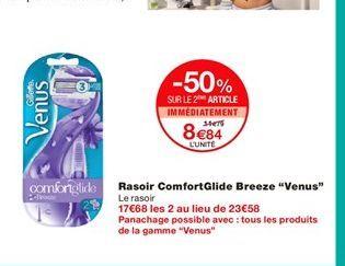 """Rasoir ComfortGlide Breeze """"Venus""""  offre à 11,79€"""
