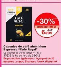 """Capsules de café aluminium Espresso """"Café Royal""""  offre à 6,99€"""