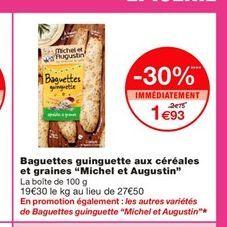 """Baguettes guinguette aux céréales et graines """"Michel et Augustin""""  offre à 1,93€"""