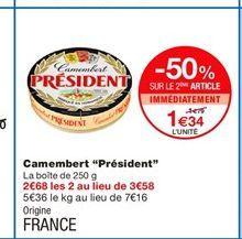 """Camembert """"Président"""" offre à 1,79€"""