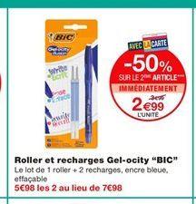 """Roller et recharges Gel-ocity """"BIC""""  offre à 3,99€"""
