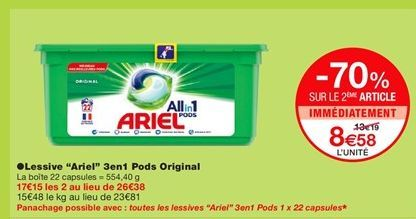"""Lessive """"Ariel"""" 3en1 Pods Original  offre à 13,19€"""