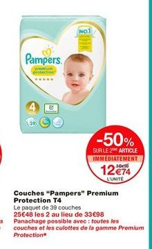 """Couches """"Pampers"""" Premium Protection T4  offre à 16,99€"""