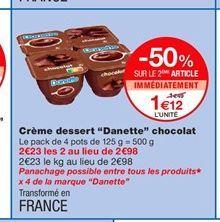 """Crème dessert """"Danette"""" chocolat offre à 1,49€"""