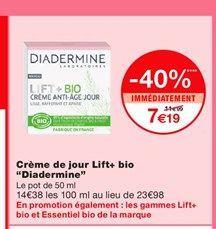 """Crème de jour Lift+ bio """"Diadermine""""  offre à 7,19€"""