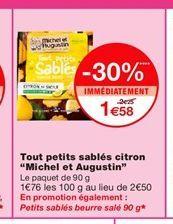 """Tout petits sablés citron """"Michel et Augustin""""  offre à 1,58€"""