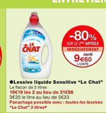 """Lessive liquide Sensitive """"Le Chat""""  offre à 15,99€"""