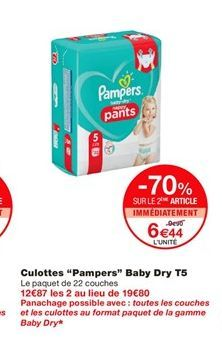 """Culottes """"Pampers"""" Baby Dry T5  offre à 9,9€"""