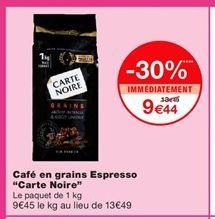 """Café en grains Espresso """"Carte Noire""""  offre à 9,44€"""