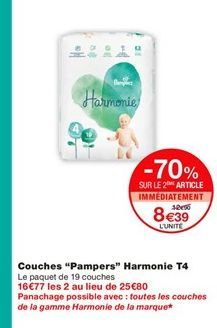 """Couches """"Pampers"""" Harmonie T4  offre à 12,9€"""