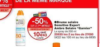 """Brume solaire Sensitive Expert Ambre Solaire """"Garnier""""  offre à 13,9€"""