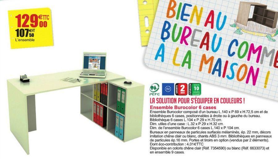 Ensemble Burocolor 6 cases offre à 129€