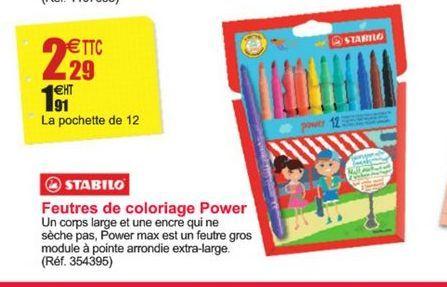 Feutres de coloriage Power Stabilo offre à 2,29€
