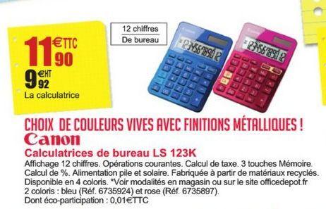 Calculatrices de bureau LS 123K Canon offre à 11,9€