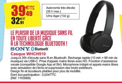 Casque WHCH510 Sony offre à 39,49€