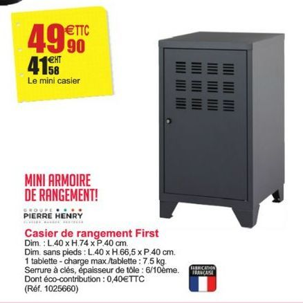 Casier de rangement First offre à 49,9€