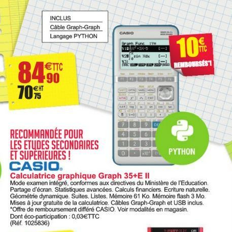 Calculatrice graphique Graph 35+E II Casio offre à 84,9€