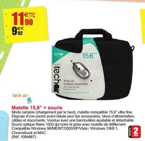 """Malette 15,6"""" + souris offre à 11,9€"""