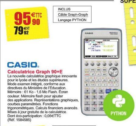 Calculatrice Graph 90+E Casio offre à 95,9€