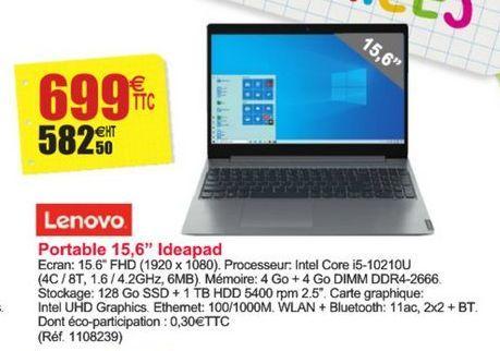 """Portable 15,6"""" Ideapad Lenovo offre à 699€"""