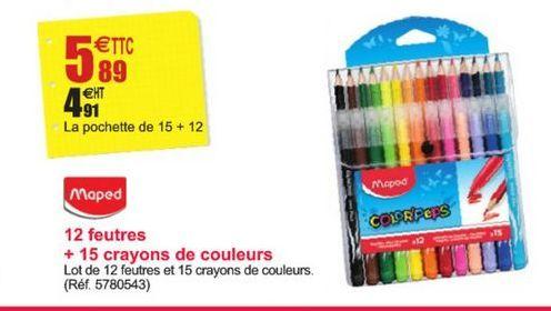 12 feutres + 15 crayons de couleurs offre à 5,89€