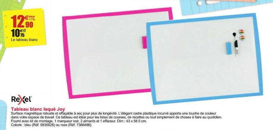 Tableau blanc laqué Joy Rexel offre à 12,9€