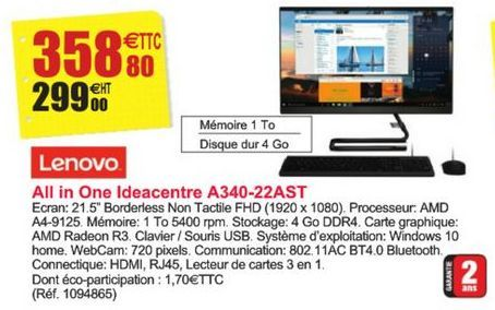 All in One Ideacentre A340-22AST Lenovo offre à 358,8€