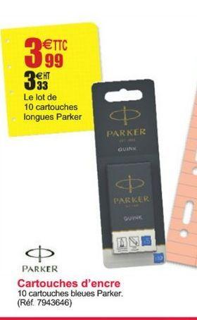 Cartouches d'encre PARKER offre à 3,33€