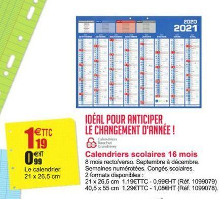 Calendriers scolaires 16 mois Calendriers Bouchut Grandrémy  offre à 1,19€