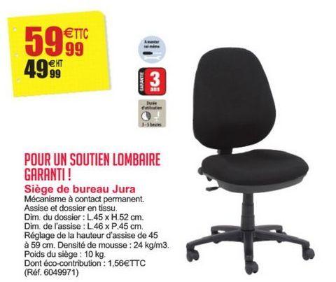 Siège de bureau Jura offre à 59,99€
