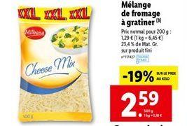 Mélange de fromage a gratiner offre à 2,59€