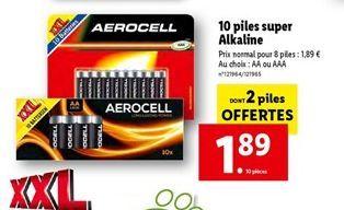 10 piles super Alkaline offre à 1,89€