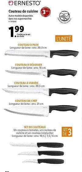 Couteau de cuisine ERNESTO offre à 1,99€