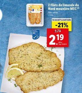 2 filets de limande du nord meuniere msc offre à 2,19€