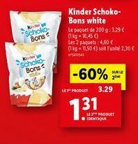 Chocolats Kinder offre à 1,31€