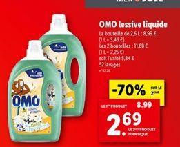 Lessive liquide Omo offre à 8,99€