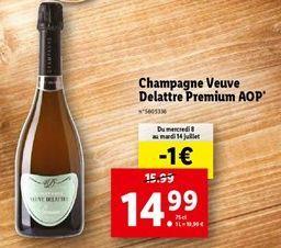 Champagne veuve delattre premium AOp offre à 14,99€