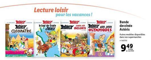 Bande dessinée Asterix offre à 9,49€