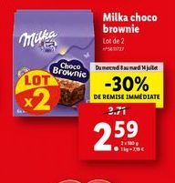 Brownies Milka offre à 2,59€