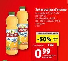 Joker pur jus d'orange  offre à 1,99€