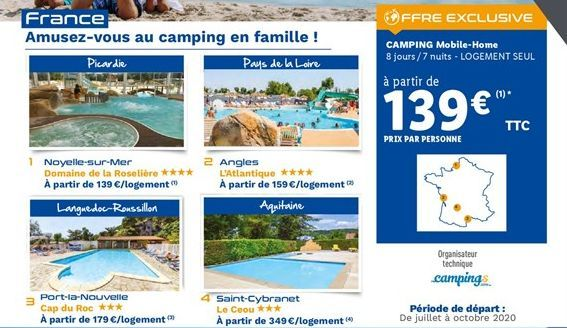 Camping mobile-home offre à 139€