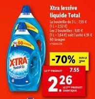 Xtra lessive liquide Total offre à 7,55€