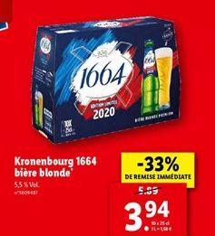 Kronenbourg 1664 bière blonde  offre à 3,94€
