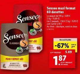 Senseo maxi format 60 dosettes offre à 5,69€