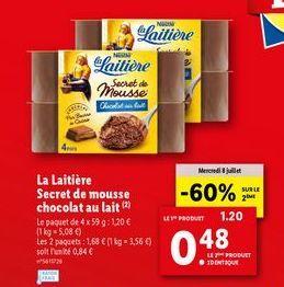 Chocolat au lait Nestlé offre à 0,48€