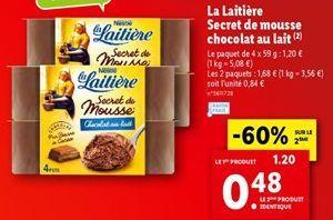 La laitière secret de mousse chocolat au lait  offre à 1,2€