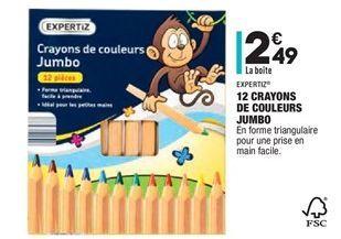 12 crayons de couleurs jumbo  offre à 2,49€