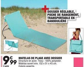 Matelas de plage avec dossier offre à 9,99€